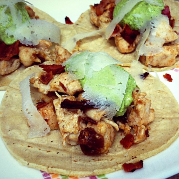 Chicken, Bacon and Date Tacos with Pistachio Pesto