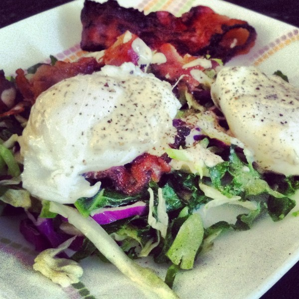 The Breakfast Salad with Poached Eggs and Bacon