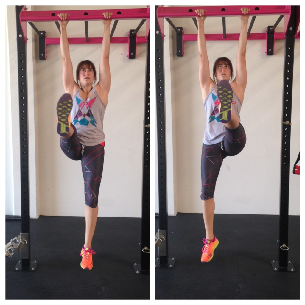 Hanging Single leg lifts