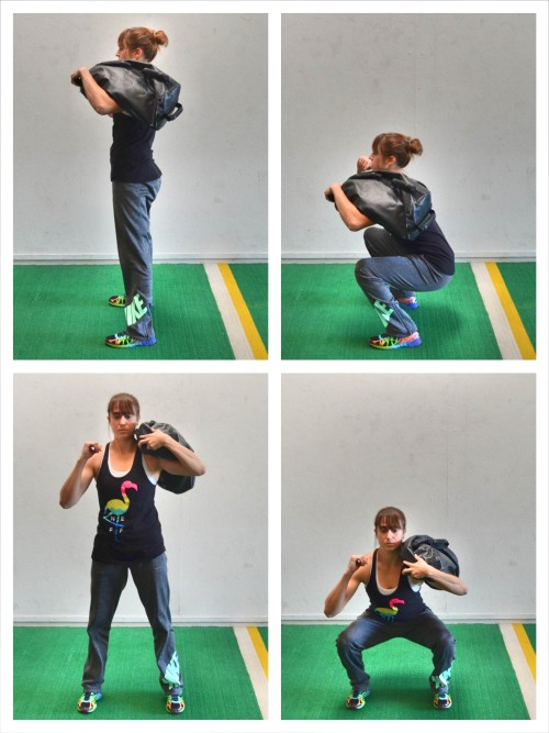 shouldered sandbag squat