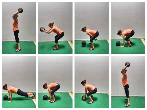 med ball burpees
