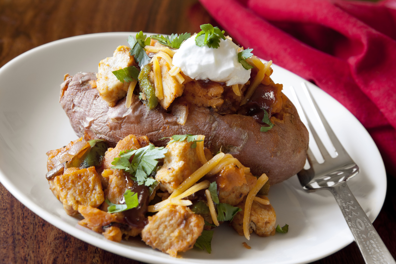 chipotle chicken loaded sweet potatoes