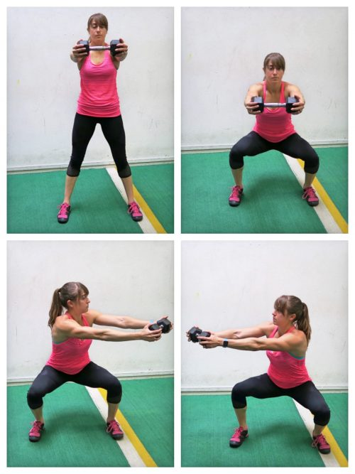 squat with rotation