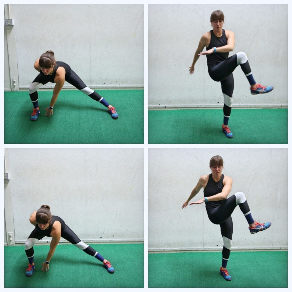 side lunge with knee tuck