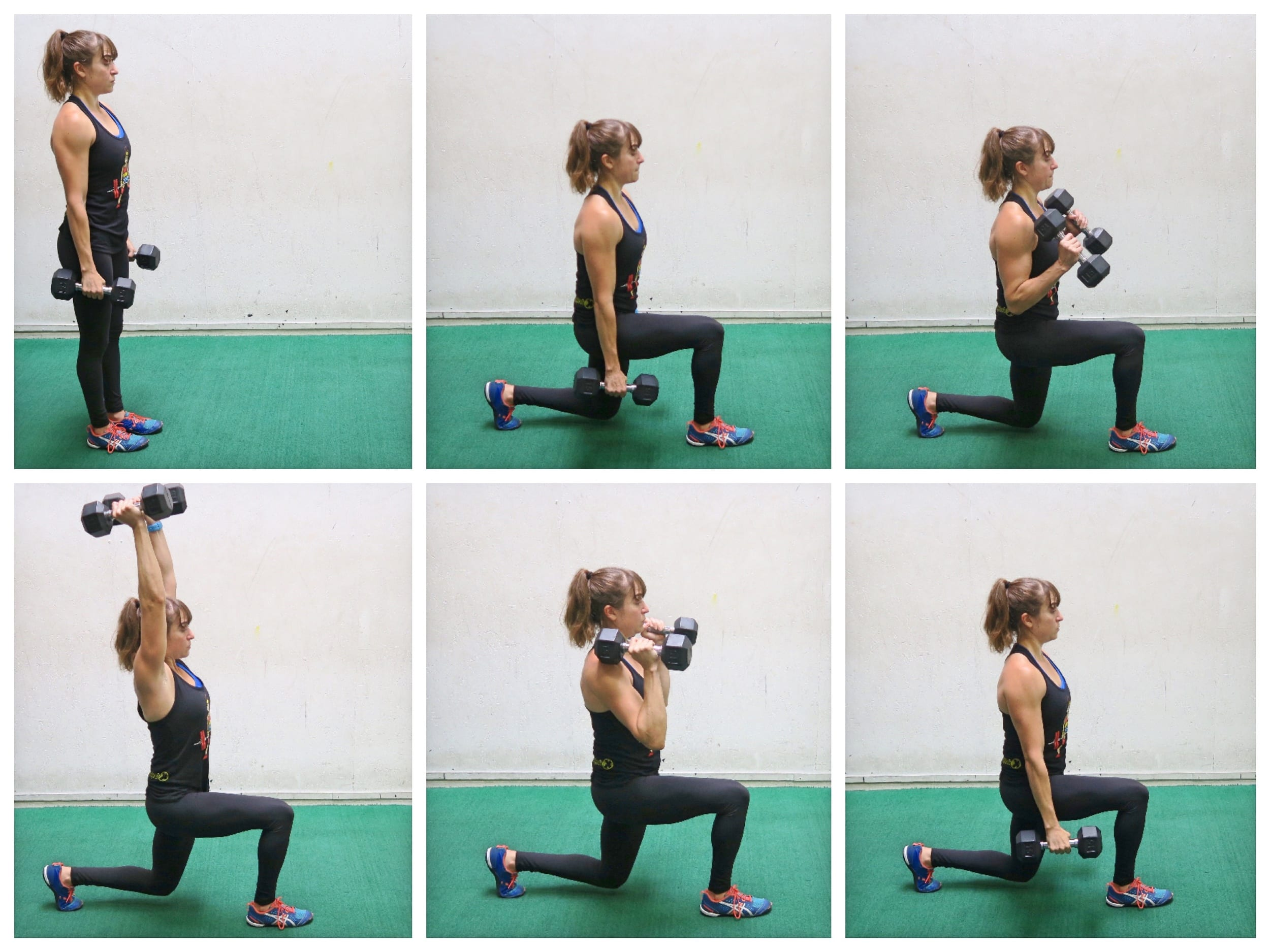 full body dumbbell lunge curl to press